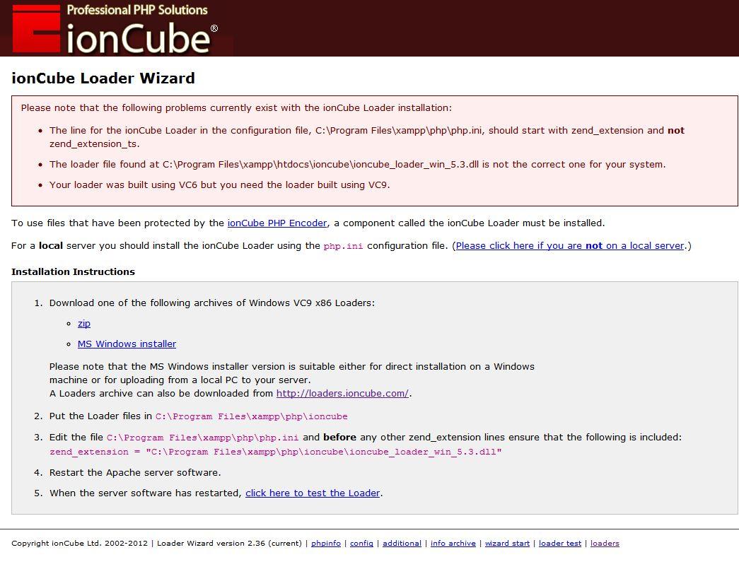 Instalar IonCube en Xampp en OS Windows 7